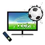 La corrispondenza di gioco del calcio sulla TV mette in mostra il canale Fotografia Stock Libera da Diritti