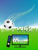 La corrispondenza di gioco del calcio sulla TV mette in mostra il canale Immagini Stock Libere da Diritti