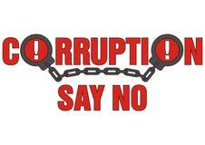 La corruzione del segno dice no Immagini Stock Libere da Diritti