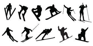 La corsa con gli sci mette in mostra lo snowboard dell'inverno Fotografia Stock