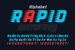 La corsa della progettazione della fonte dell'esposizione, l'alfabeto, carattere, lettere ed intorpidisce illustrazione di stock