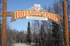 La corsa di cane di slitta della traccia di Iditarod Fotografia Stock