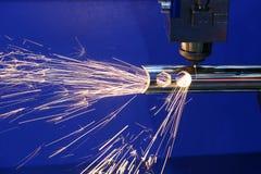 La cortadora del laser de la fibra del CNC Imágenes de archivo libres de regalías
