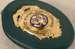 La corte comanda allo schermo del distintivo Fotografia Stock Libera da Diritti