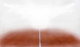 La corte de tierra de Tenis en la niebla 3d rinde Foto de archivo libre de regalías