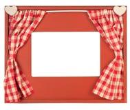 La cortina adornó el marco de la foto en el fondo blanco Fotos de archivo libres de regalías