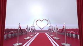 La cortina revela un teatro interior para la boda y la boda stock de ilustración