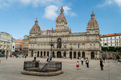 La coruna city hall. People are visiting, kids are playing in the square Stock Images