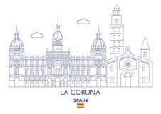 La Coruna City Skyline, Spain. La Coruna Linear City Skyline, Spain