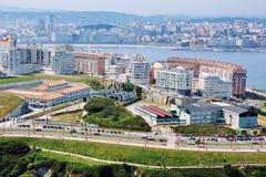 La Coruna, Spain. Aerial view of La Coruna, Galicia, Spain with Sea Stock Photography