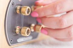 La cosse de haute fidélité de haut-parleur pour le Bi-câblage avec de l'or a plaqué des connecteurs Photo libre de droits