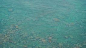La costa con le pietre su cui l'onda trova video d archivio
