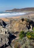 La costa costa y la playa Devon England y Morte de Woolacombe señalan Foto de archivo libre de regalías