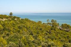 La costa de Gargano (Apulia) en el verano Foto de archivo libre de regalías