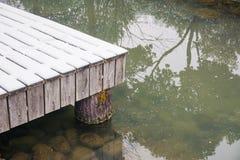 La costa de madera cubierta con el lago turbio próximo de la nieve imagen de archivo