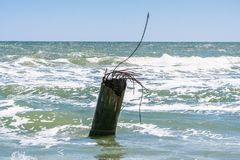 La costa del mare di Azov sullo sputo di Fedotova Immagine Stock