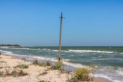 La costa del mare di Azov sullo sputo di Fedotova Immagini Stock Libere da Diritti