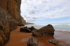 La costa en el puerto Campbell, gran camino del océano en Victoria 12 apóstoles acerca al puerto Campbell, gran camino en Victori Fotos de archivo libres de regalías