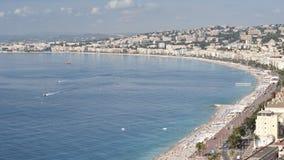 La costa en Niza de la colina del castillo Imagen de archivo libre de regalías