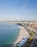 La costa en Niza de la colina del castillo imágenes de archivo libres de regalías