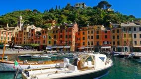 La costa variopinta in Portofino, Italia Fotografia Stock