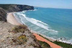 La Costa Vicentina, Praia fa Monte Clérigo, Portogallo Fotografie Stock Libere da Diritti