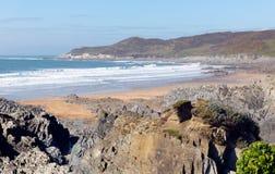 La costa y la playa Devon England y Morte de Woolacombe señalan Imagenes de archivo