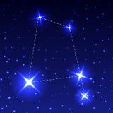 La costellazione di Raven nel cielo stellato di notte Illustrazione di vettore del concetto di astronomia illustrazione di stock