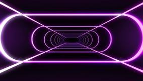 La costola al neon senza fine accende la nuova qualità del tunnel di volo di moto dei grafici di animazione del ciclo senza cucit royalty illustrazione gratis