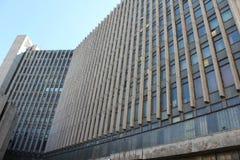 La costruzione dei periodi sovietici con una soluzione architettonica insolita, ora l'ufficio di RosGeology immagine stock
