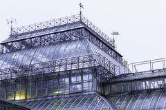 La costruzione del giardino botanico, la serra di vetro della facciata Fotografia Stock