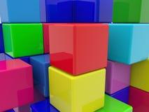 La costruzione del giocattolo cuba il primo piano Fotografie Stock Libere da Diritti