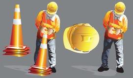 La costruzione del lavoratore è a continuare eliminare del traffico dell'imbuto fotografie stock libere da diritti