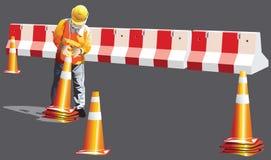 La costruzione del lavoratore è a continuare eliminare del traffico dell'imbuto immagine stock