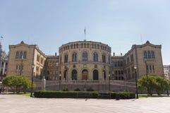 La costruzione del Parlamento da Oslo, Norvegia Immagini Stock Libere da Diritti