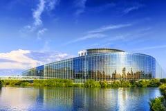 La costruzione del Parlamento Europeo a Strasburgo Fotografie Stock Libere da Diritti