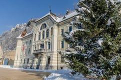 La costruzione del Parlamento a Vaduz, Lichtenstein Fotografia Stock