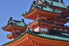 La costruzione del santuario di Heian, Kyoto Giappone Fotografia Stock Libera da Diritti
