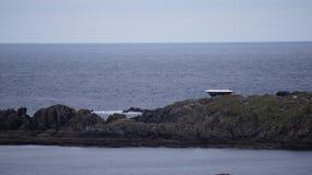La costruzione del set cinematografico del falco di millennio di Star Wars in Malin Head, Irlanda Immagini Stock Libere da Diritti