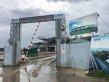La costruzione del terminal passeggeri internazionale di Ranh della camma dentro rivaleggia Fotografia Stock