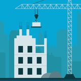 La costruzione dell'appartamento visualizza l'illustrazione dei condomini 3d della costruzione Immagine Stock