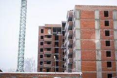 La costruzione dell'edificio del mattone rosso Immagini Stock