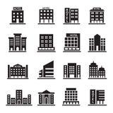 La costruzione dell'hotel, la torre dell'ufficio, icone della costruzione ha messo l'illustrazione Fotografie Stock Libere da Diritti