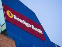 La costruzione della facciata della banca di Bendigo, sta funzionando soprattutto nei retail banking al centro di Adelaide, Austr fotografia stock