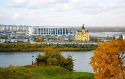 La costruzione di nuovo stadio di football americano in Nižnij Novgorod Fotografie Stock Libere da Diritti