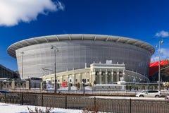 La costruzione di nuovo stadio per il campionato 2018 del mondo Fotografie Stock Libere da Diritti