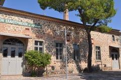 La costruzione di oliven la fabbrica di produzione, isola di Lesbos, Grecia Fotografie Stock Libere da Diritti