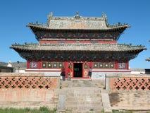 La costruzione di un tempiale buddista in Mongolia Immagini Stock