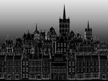 La costruzione di una città europea, disegnata da un profilo bianco Fotografia Stock Libera da Diritti