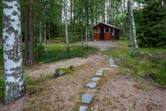 La costruzione di una sauna finlandese tradizionale immagine stock libera da diritti